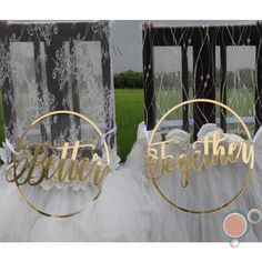 BETTER TOGETHER Wedding Chair Sign Set by FAVOURGRAM on Etsy Wedding Chair Signs, Wedding Chairs, Buntings, Better Together, Our Wedding, Groom, Wellness, Table Decorations, Bride