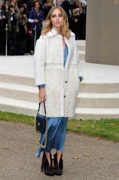 #SukiWaterhouse plush fur and slinky satin slip dress. London