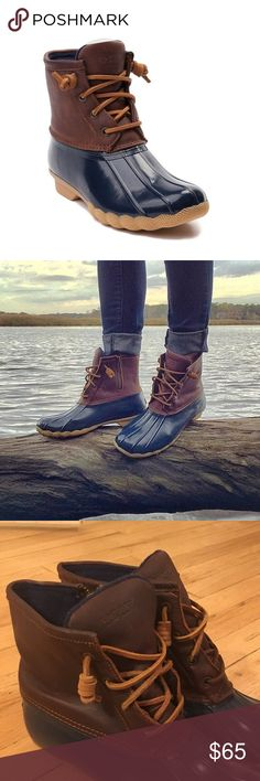 Sperry Top-Sider Duck Boot Very gently used navy blue Sperry-Top Sider duck boots! (Women's size 08) Great condition...Perfect for rain or snow and are fully waterproof and warm! Sperry Top-Sider Shoes Winter & Rain Boots
