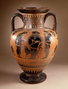 Black-Figure Neck-Amphora with (A) Departure Scene and (B) Battle Scene Antimenes Painter (attributed to the) Circle of the Antimenes Painter (Burow) (attributed to the) (Greece) Greece, Athens, 520 B.C.