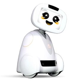 Buddy Robot has three wheels, a tablet face, cameras (above the face) and sensors to help it interact with you and your family.
