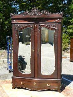 antique 19c armoire wardrobe victorian rococo mahogany birdseye maple interior ebay antique mahogany armoire