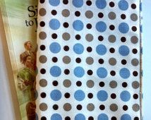 Book Cover - Brown, Blue and Creme Polka Dot Fabric