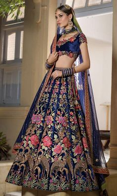 Deep royal blue lehenga choli Pakistani bridal wear Rajasthan by Nomi Ansari Designer Bridal Lehenga, Indian Bridal Lehenga, Pakistani Bridal Wear, Pakistani Dresses, Indian Dresses, Wedding Dresses, Wedding Wear, Party Wedding, Lehenga Wedding Bridal