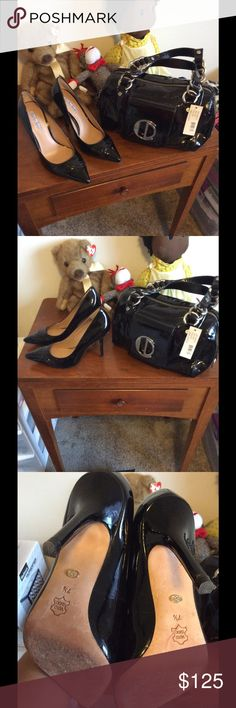 Charles David patent leather purse  + heels Major deal! Shiny black patent leather set includes BNWT satchel (retails $195) and size 7.5 stilettos in gently used condition. Can be sold separately but better as a set. Nothing beats a great shoe and purse combo! Charles David Bags Satchels