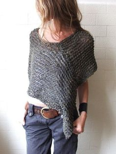 Moss Green Alpaca poncho – a rectangle and a square (for the other shoulder) would make something similar