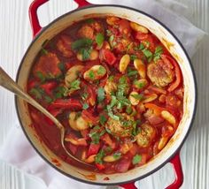 This hearty one-pot is full of Mediterranean flavour, with pork, red onion, peppers and smoked pa
