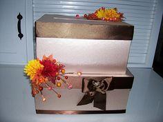 WEDDING CARD BOX decorated with autumn by sewingmissdaisy on Etsy