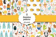 8 Seamless patterns with animals by Tatiana Karpenko on Creative Market