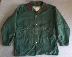 WOOLRICH Denim Jacket VTG Chore Coat Wool Blanket Lined Green USA Large EUC #Woolrich #Chore