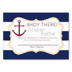 Nautical Ahoy There Diaper Raffle Ticket Business Cards