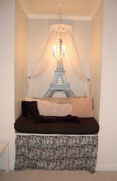 Built-in reading nook in girls' bedroom (built into chimney).