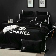 Luxury Bedroom Sets, Fancy Bedroom, Bedroom Bed Design, Luxurious Bedrooms, Luxury Bedding, Chanel Bedding, Chanel Bedroom, Teen Room Decor, Home Decor Bedroom