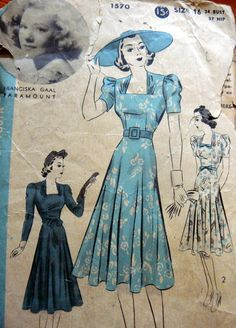 1930s DRESS HOLLYWOOD Sewing Pattern 16/34