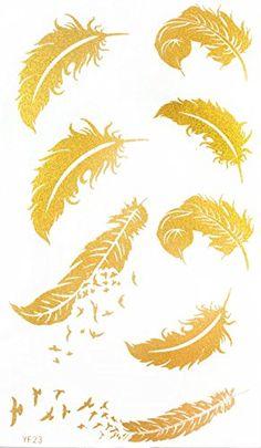 """Dernières """"x3.74″ plume avec des oiseaux volants or or réalistes tatouage autocollants temporaires vente chaude et à la mode autocollant de ..."""
