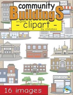 This clip art packet includes images of 13 community buildings and 3 vehicles.Images are provided in color and blackline. Please see the list below.- Ambulance- Apartment Building - Bank- Church- Convenience Store - Fire Station- Fire Truck- Hospital- Library- Mosque- Park- Police Car- Police Station - Post Office- Restaurant- SchoolThis product is a .zip file.