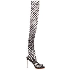 Francesco Russo Mesh Over the Knee Boot ($1,200) ❤ liked on Polyvore featuring shoes, boots, black, caged thigh high boots, thigh boots, caged boots, over-knee boots and black above the knee boots