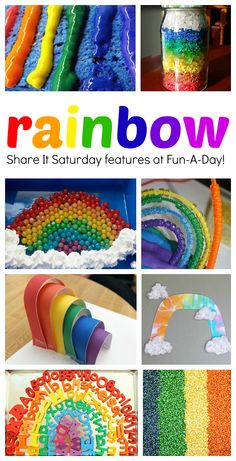 A collection of fun and engaging rainbow activities for kids. Rainbow activities for science, math, sensory play, snacks, and more! Rainbow Activities, Rainbow Crafts, Spring Activities, Creative Activities, Creative Kids, Preschool Activities, Yarn Crafts For Kids, Fun Crafts, Rainbow Theme