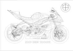 Wireframe Drawing http://oldskl.deviantart.com/art/BMW-S1000RR-Vector-Wireframe-138746440