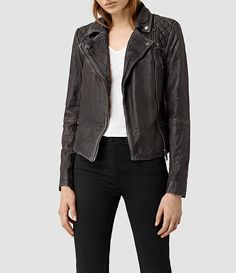 Womens Cargo Leather Biker Jacket (Black/Grey) - product_image_alt_text_1