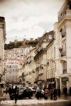 The Castle of São Jorge as seen from the Baixa, Lisbon, Portugal