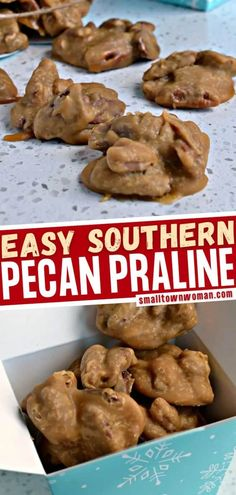 A quick and easy pecan candy from scratch perfect as a homemade food gift idea to give to family and friends! This sweet treat has a fudge like texture with a sweet buttery caramel wrapped around fresh toasted pecans for an over the top taste sensation. Save this dessert recipe! Southern Pecan Pralines Recipe, Praline Recipe, Candied Pecans Recipe, Toasted Pecans, Candied Nuts, Easy Christmas Candy Recipes, Holiday Recipes, Holiday Meals, Holiday Desserts