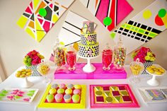 Neon AWESOME candy bar. Photography by leebirdphotography.com.au/ Design Concept by hamandpea.com