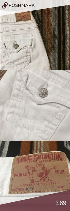 """White True Religion Joey Jeans, Size 26 Authentic True Religion jeans in excellent preowned condition. The style is the """"Joey"""" fit.  These are no longer my size so I cannot model them but they do have a little flare. Size 26. True Religion Jeans"""
