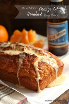 Blue Moon Orange Glazed Breakfast Beer Bread - Country Cleaver - - This Blue Moon Orange Glazed Breakfast Beer Bread is perfect to start your day toasted buttered and sprinkled with cinnamon and sugar! Beer Recipes, Baking Recipes, Dessert Recipes, Yummy Recipes, Ciabatta, Cooking With Beer, Savarin, Beer Bread, Dessert Bread