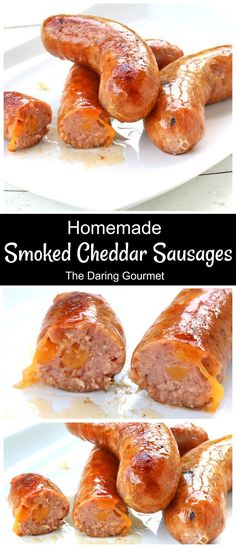 Smoky, zesty and oozing with cheese, these homemade smoked cheddar sausages are absolutely perfect for your next grilling party! Charcuterie, How To Make Sausage, Sausage Making, Home Made Sausage, Homemade Sausage Recipes, Smoker Recipes, Venison Recipes, Bratwurst Recipes, Rib Recipes