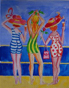 Needlepoint canvas 'Sexy Ladies at the Ocean'