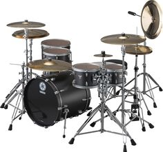 Yamaha's flat black Rock Tour drum set.  I would love try these drums!