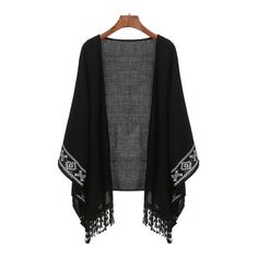 84c92a5fc8 SheIn(sheinside) Black Aztec Print Fringe Kimono (11.245 CRC) ❤ liked on