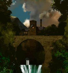 Mill - by Neil C. Ross The 5th Of November, September 2013, Hotel Transylvania 1, Tron Uprising, Matte Painting, Visual Development, Tower Bridge, Concept, Landscape