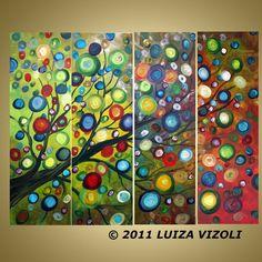 Love this stuff!!!  Original Large Painting Fantasy Whimsical Tree by LUIZAVIZOLI