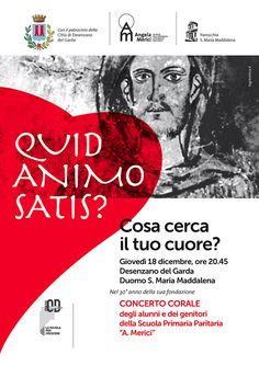 """Poster per concerto della Scuola """"A. Merici"""" dedicato alla figura di S. Francesco d'Assisi – """"Prima che venga notte"""" - Con il patrocinio della Città di Desenzano del Garda."""