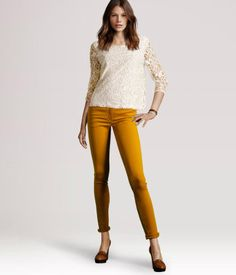 H & M skinny jeans in mustard. Now buy the top! $25