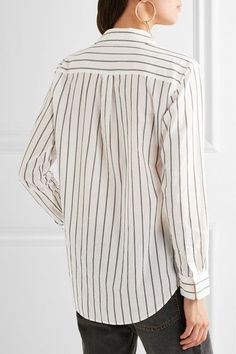 Equipment - Knox Lace-up Striped Cotton Shirt - Off-white - x small