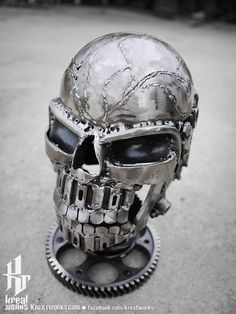 Recycled Metal Skull by Kreatworks on Etsy, $170.00