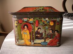 "Rare MacFarlane Lang Chinese ""Geisha House"" 1904 - British Biscuit Tin"