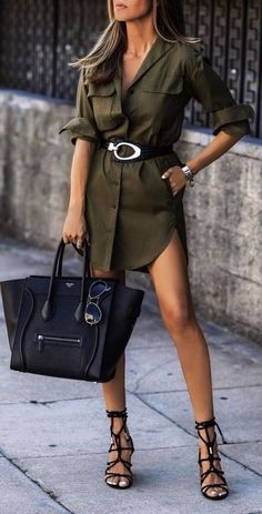 olive shirtdress - too short for wearing in public appearances, but for a casual outing - this is a great look. Fashion Mode, Look Fashion, Womens Fashion, Fashion Trends, Fashion Fashion, Fashionista Trends, Jeans Fashion, Hijab Fashion, Paris Fashion