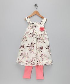 Take a look at this White Flower Dress & Leggings - Infant & Toddler by Kenneth Cole on #zulily today!