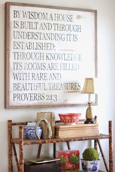 """For the school room: """"By wisdom a house is built."""