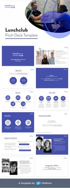 "Lunchclub is a startup dedicated to make ""curated connections for 1:1 lunch or coffee meetings"". Based on the user's goals and interests, they introduce people via email so they can coordinate an individual professional meeting. Sources refer to it as working better for this purpose than LinkedIn.   This is the pitch deck that helped them raise millions of dollars, as redesigned by Slidebean."