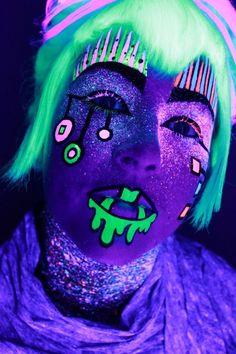 Blacklight body paint makeup
