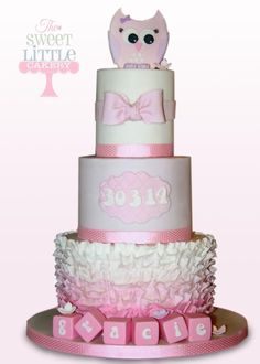 3 tier owl and ombre ruffle christening cake