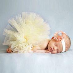 New Cute Newborn Toddler Baby Girl Tutu Skirt & Headband Photo Prop Costume Outfit