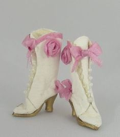 Cynthia Howe - white leather high button boots