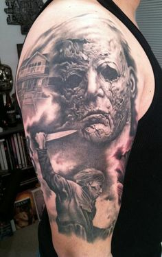 michael myers tattoos | Paradise Tattoo Gathering : Tattoos : Bob Tyrrell : Michael Myers half ...