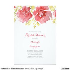 "watercolor floral romantic bridal shower 5"" x 7"" invitation card"